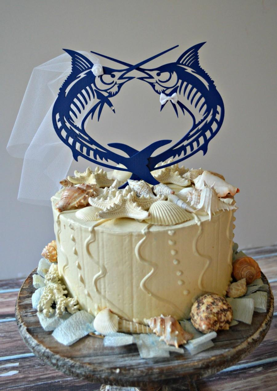 Свадьба - Sailfish-Marlin-fish-sport fishing-wedding-cake topper-beach-destination-fisherman-groom-bride-ocean-nautical-starfish-salt water-game fish