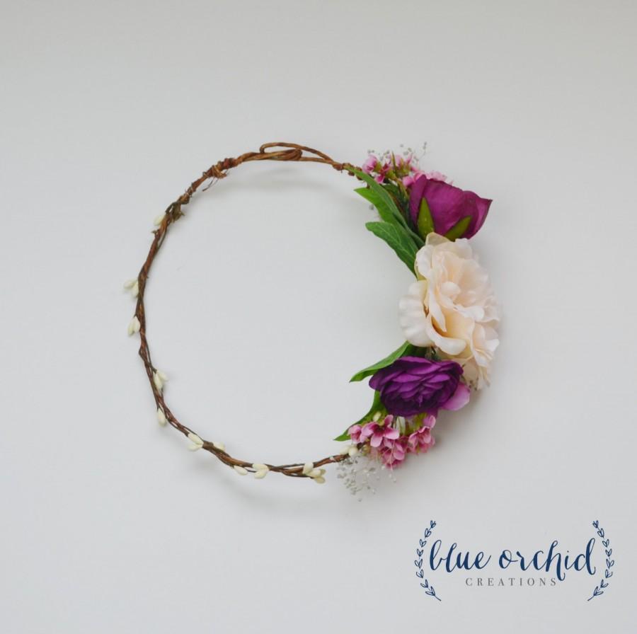 Silk Flower Crown Blush Pink Plum Purple Boho Flower Crown
