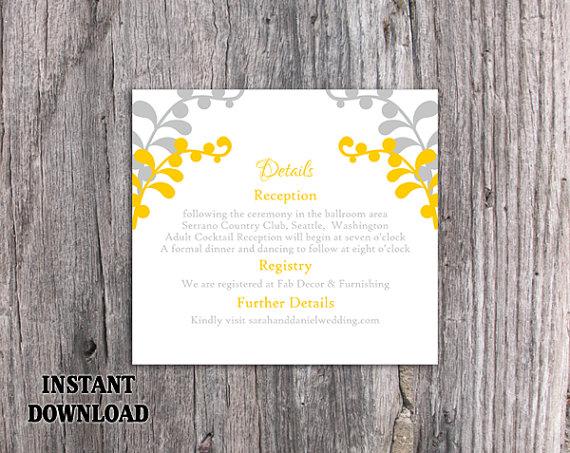 Wedding - DIY Wedding Details Card Template Editable Text Word File Download Printable Details Card Gold Silver Details Card Information Cards