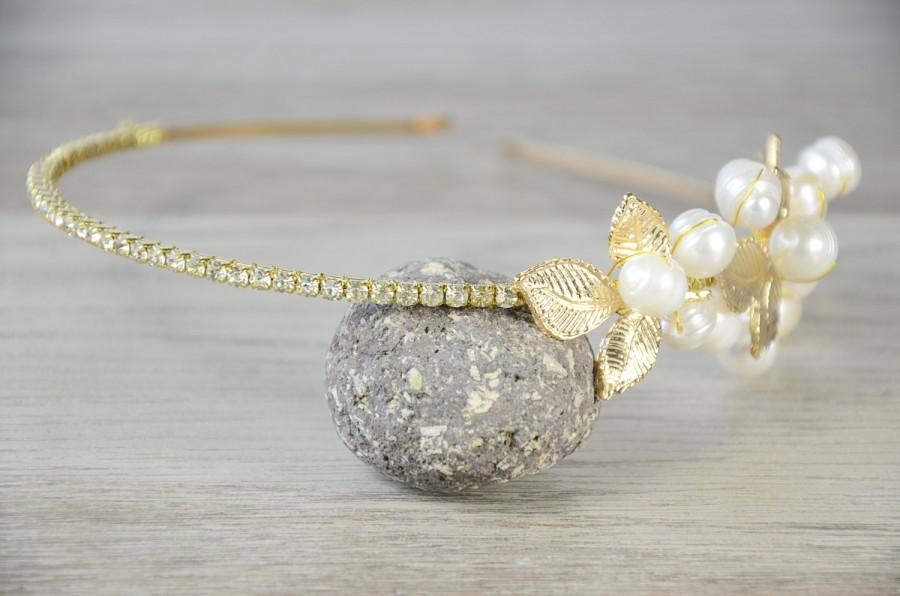 Mariage - Gold Headpiece Gold leaf pearl headband, Bridal hair crown, Golden leaf headpiece, Woodland wedding tiara, wedding crown, grecian, art deco