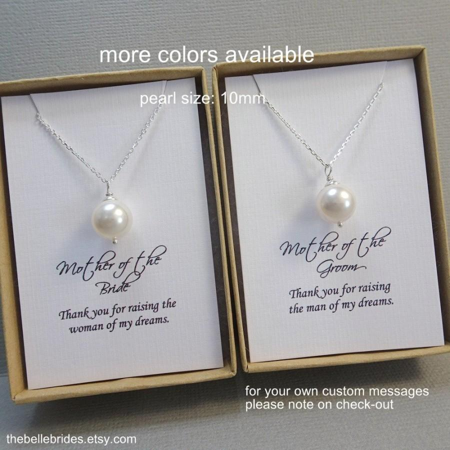 Wedding - Mother of the Bride Gift, Mother of the Groom Gift, Wedding Necklace, Swarovski White Pearl Necklace, 10mm White Pearl Necklace