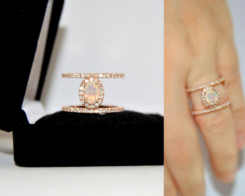 Connu SALE Minimalist Opal Engagement Ring, Rose Gold Vermeil Solitaire  ZO65