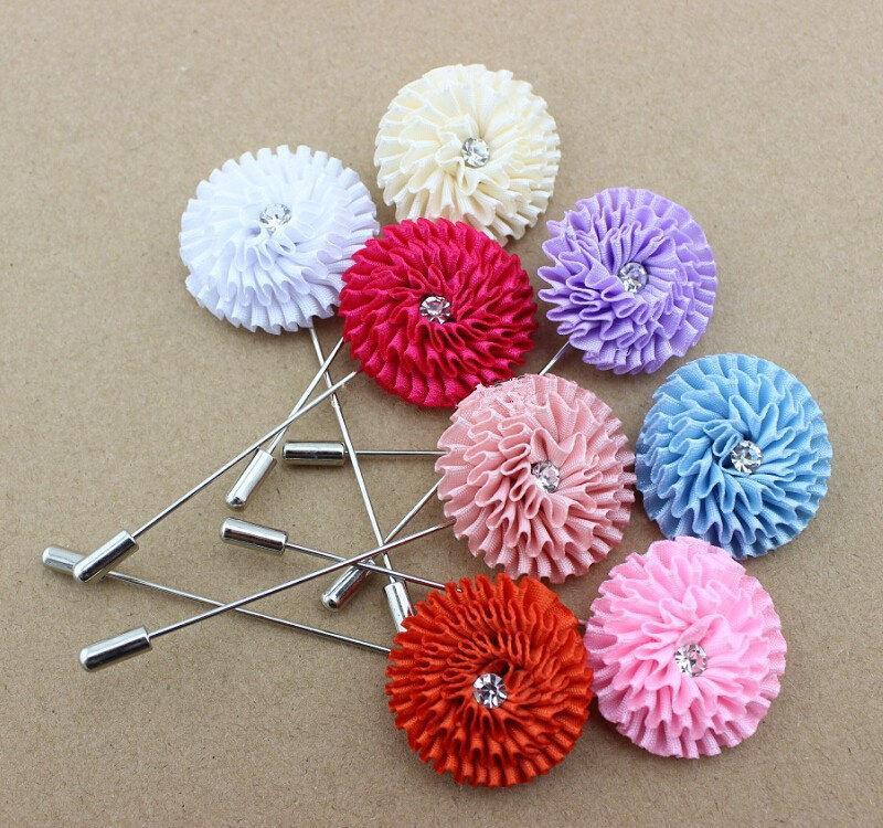 """Hochzeit - Men Lapel Flower withrhinestone 3.3cm(1.29"""") Boutonniere Brooch Pin Wedding Suit Corsage CP0029B-2pc/Set"""