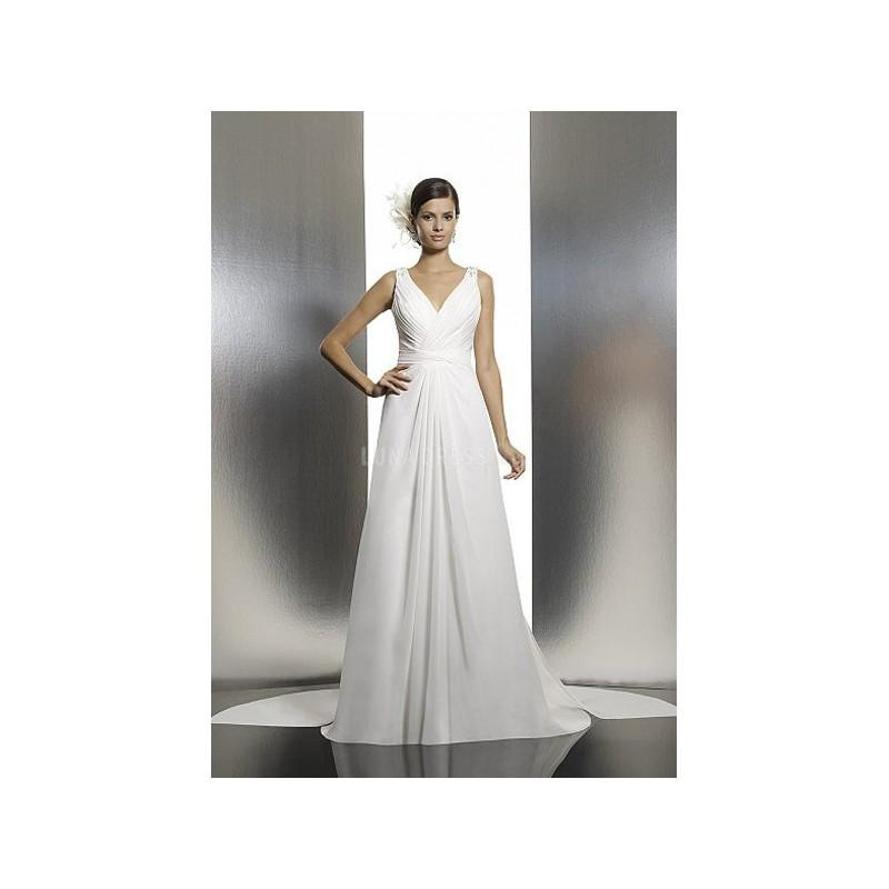 Trendy Floor Length A Line V Neck Chiffon Bridal Gowns With Ruching ...