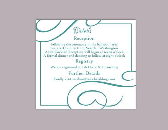 Свадьба - DIY Wedding Details Card Template Editable Text Word File Download Printable Details Card Teal Blue Details Card Information Cards