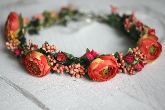 Wedding - Flower crown Bridal floral crown Flower halo Flower headband Flower hair wreath Boho floral crown Wedding flower crown