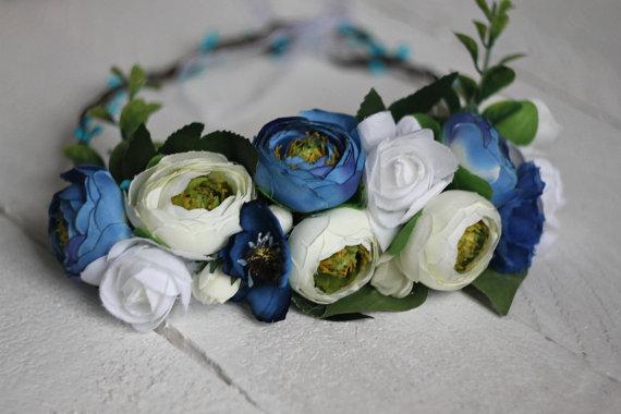 Wedding - Something blue Wreath Rustic Floral Wreath Bridal Wreath hair flowers headband wreath flower crown floral accessory halo flower headband