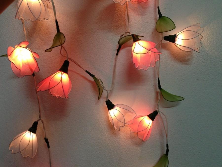 زفاف - 20 Bulbs Purple & Pink Himalayas flower with leaf string lights for Patio,Wedding,Party and Decoration, fairy lights