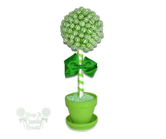 Hochzeit - Green Lollipop Topiary, Green Candy Topiary, Green Wedding Centerpiece, Candy Buffet Decor, Lollipop Centerpiece, Candy Centerpiece