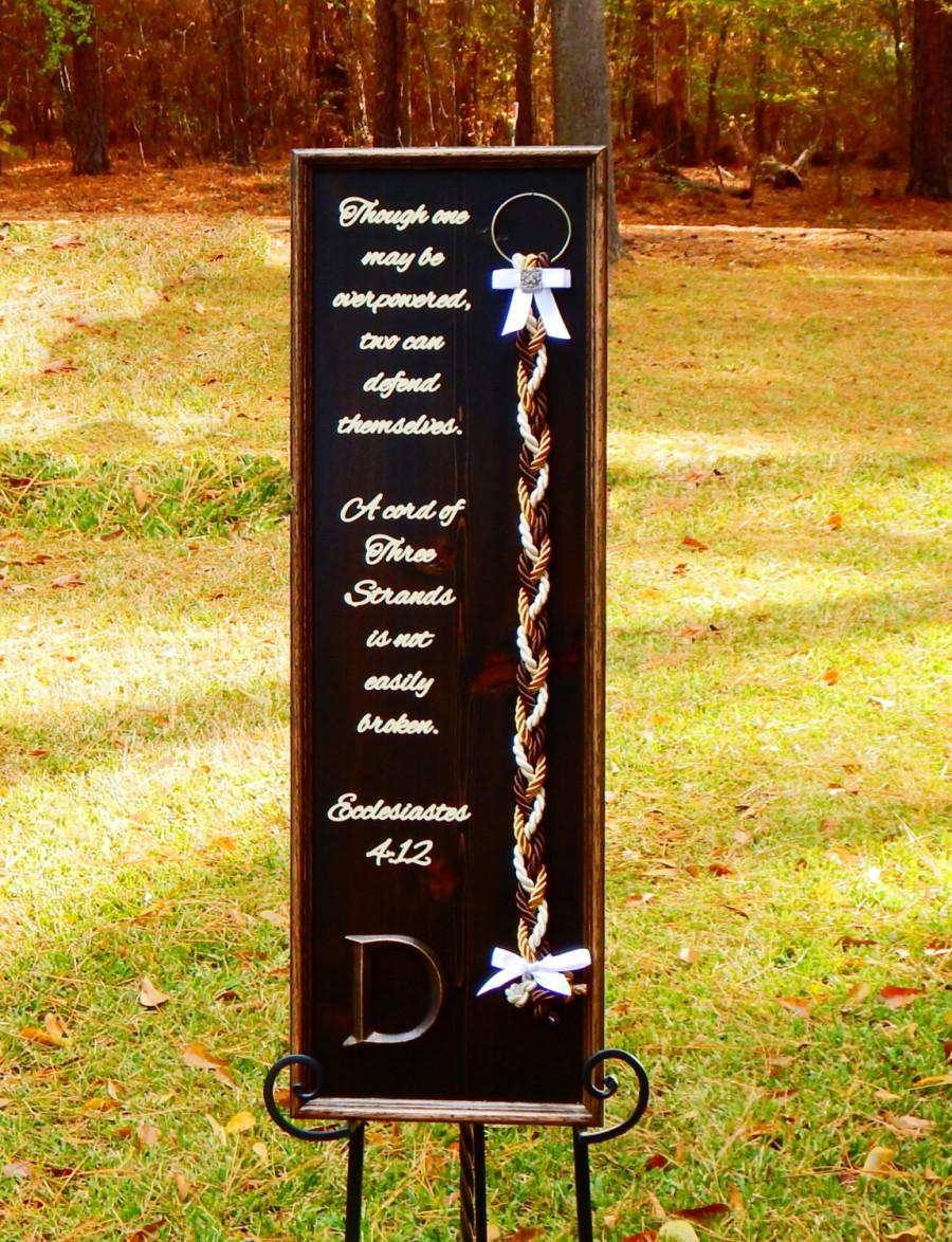Wedding Board Rustic Unity Braids A Cord Of Three Strand Country S Knot Ecclesiastes 4 Scripture Wood Sign