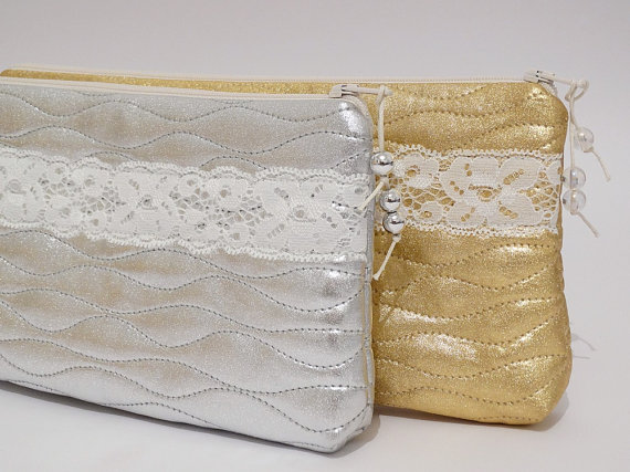 Boda - Bridesmaid Clutch   Gift, Glitter Silver / Gold Purses for Bridesmaids