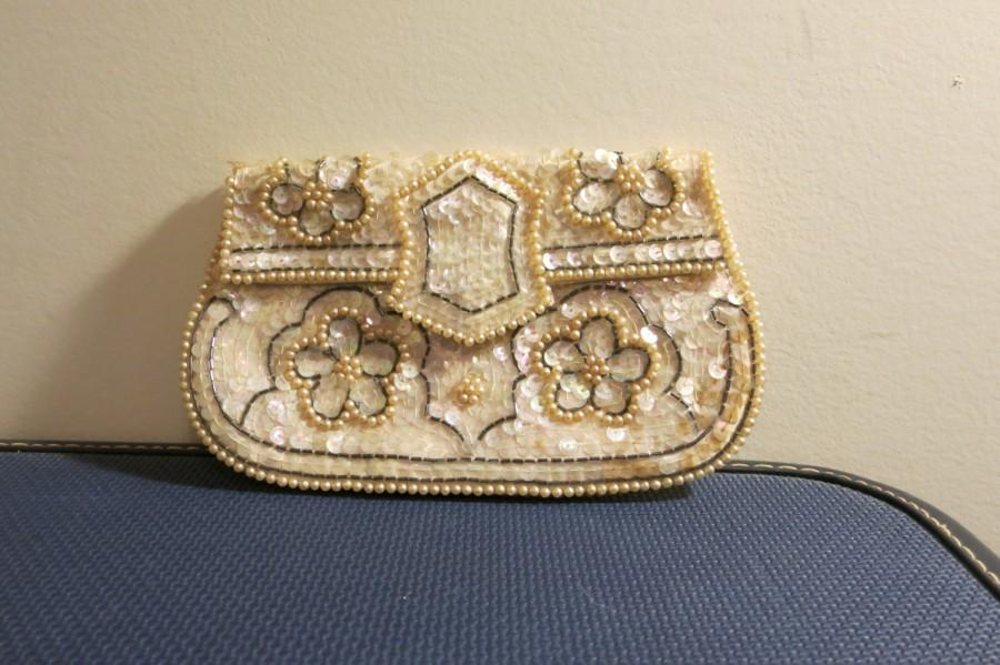 Wedding - Wedding purse clutch bridal BEADED silk sequin 1950s ivory grey flowered formal handbag