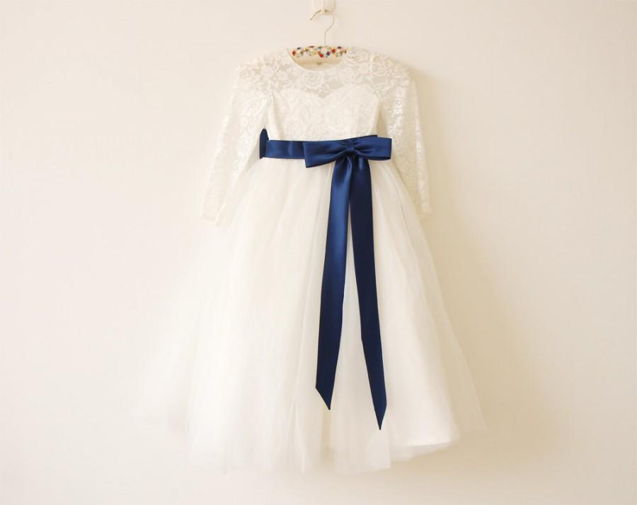 Свадьба - Ivory Navy Long Sleeves Flower Girl Dress Light Ivory Baby Girls Dress Lace Tulle Flower Girl Dress With Navy Sash/Bows Floor-length