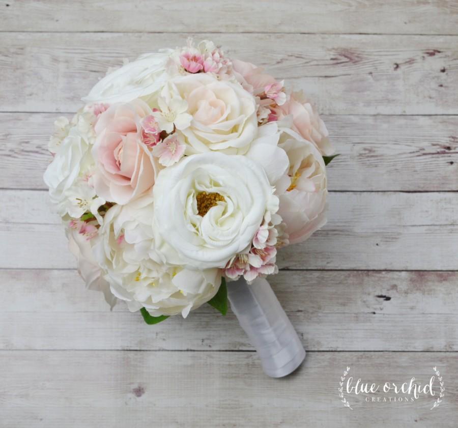Wedding Bouquet Peony Rose Blush Cherry Blossoms Light Pink Silk Cream