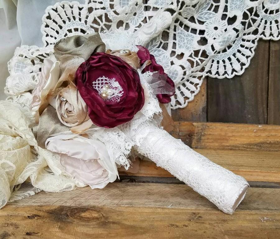 Свадьба - Bridal brooch bouquet,Ready to ship, Cranberry and blush wedding flowers, alternative bouquet, Silk Flowers