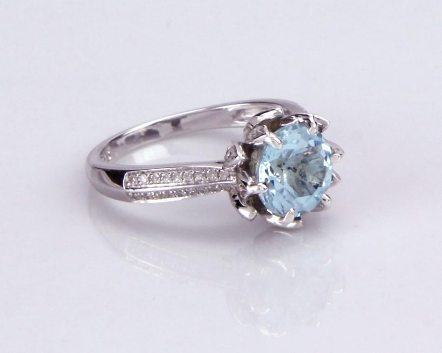 زفاف - 3ct Diamond Halo Aquamarine Ring, Engagement Ring,Halo Ring,Aquamarine Engagement,Christmas For Wife,Mermaid