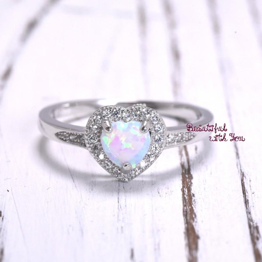 Wedding - Art Deco Heart Opal Ring. Sterling Silver White Lab Opal Promise Rings. Valentine Gift. Birthday Gift. Mothers Day. Wife. Womens Opal Band