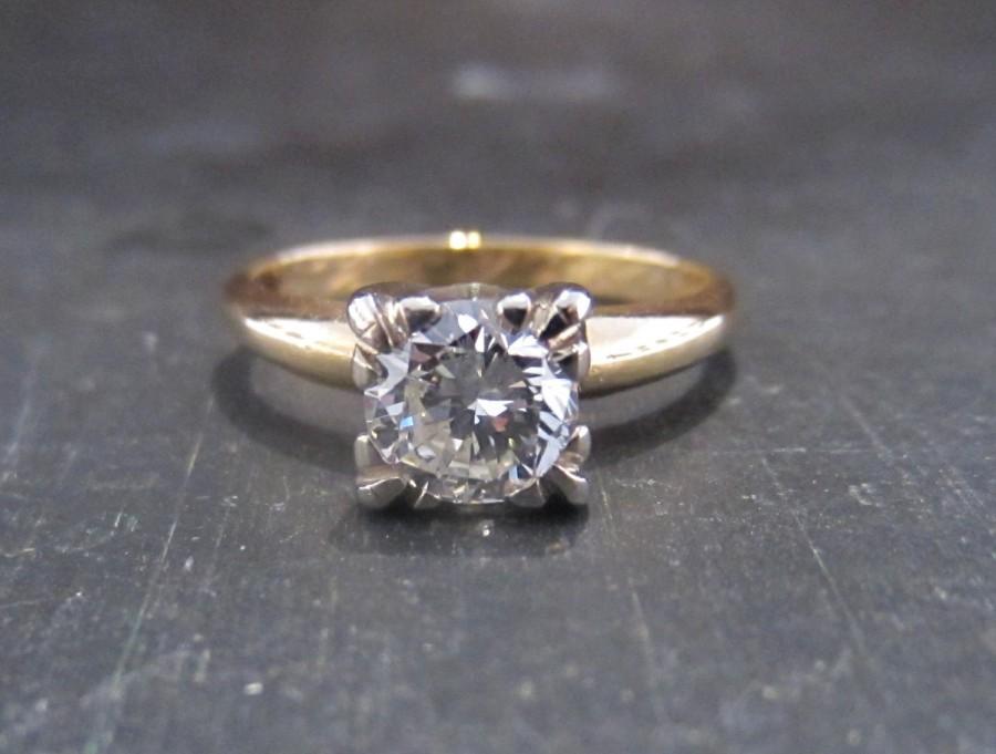 Mariage - Vintage Engagement Ring, Round Brilliant Diamond .81ct Ring 14k c. 1940, Art Deco Engagement, Diamond Engagement, Solitaire Engagement Ring