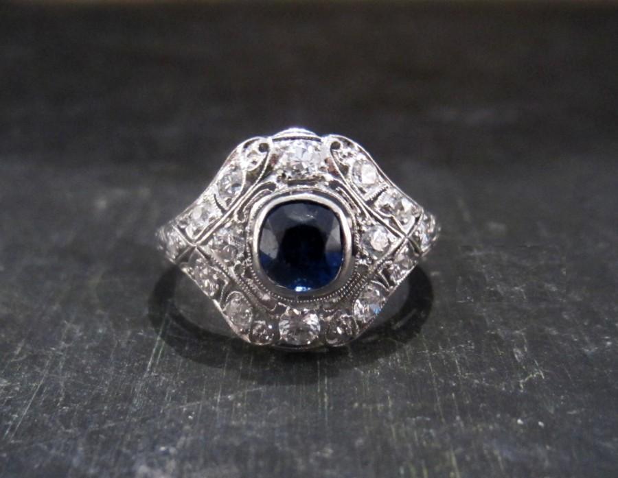 Mariage - Vintage Engagement Ring, Art Deco Sapphire .82ct and Diamond Ring Platinum c. 1930, Art Deco Engagement, Sapphire Engagement, Antique Ring