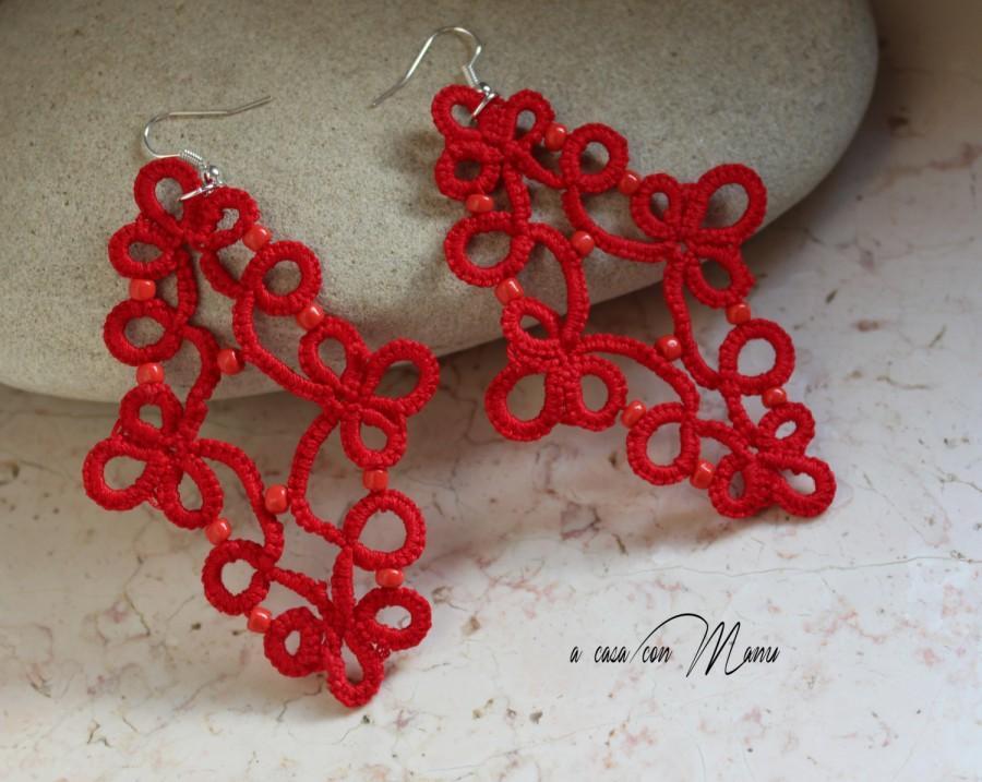 Hochzeit - Rossi orecchini al pizzo chiacchierino, idea regalo, fatti a mano, Natale, rosso, bijoux, pizzo chic, orecchini pendenti, Made in Italy