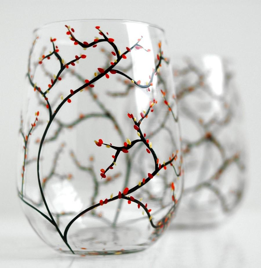 Mariage - Autumn Wine Glasses - Set of 2 Stemless Hand-Painted Glasses