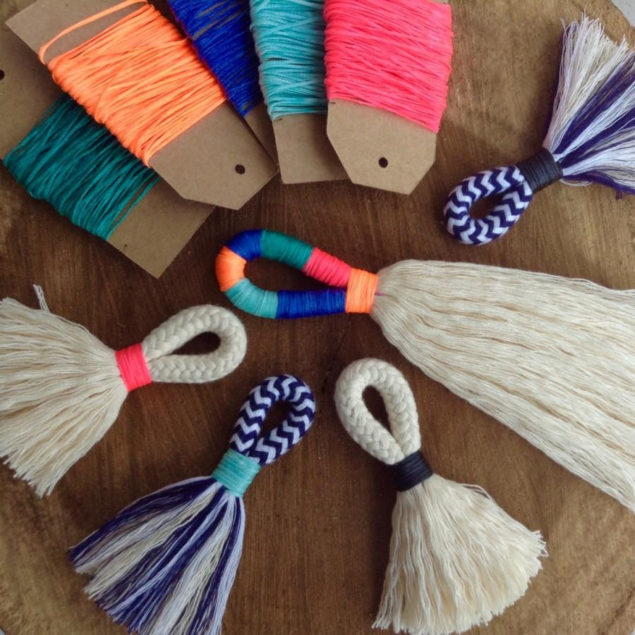 Wedding - DIY Tassel Making Kit.  Make your own large or mini tassels with cream cotton rope and waxed neon twine. Block colour tassels