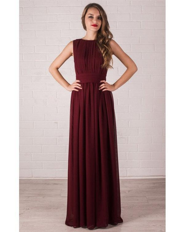 Wedding - Burgundy dress bridesmaid long chiffon dress Marsala dress floor length wedding dress bridesmaid formal long dress with pleats