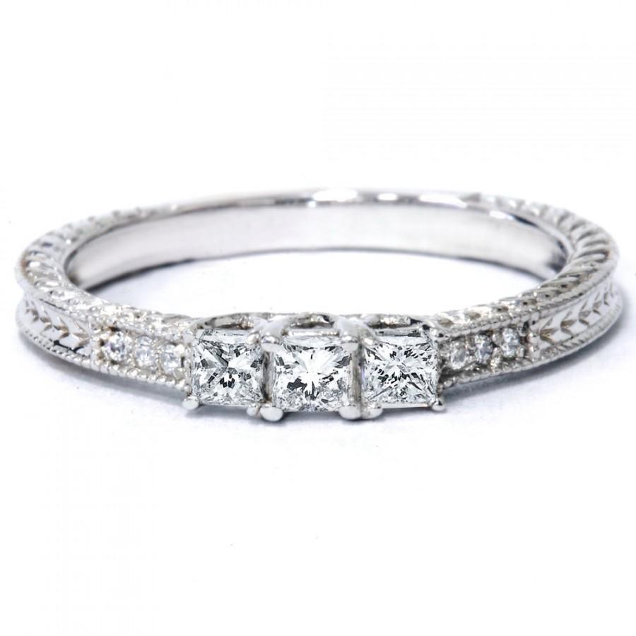 Wedding - 1/4CT Princess Cut Diamond 3 Stone Engagement Ring Vintage Antique Hand Engraved Filigre Milgrain Style 14K White Gold