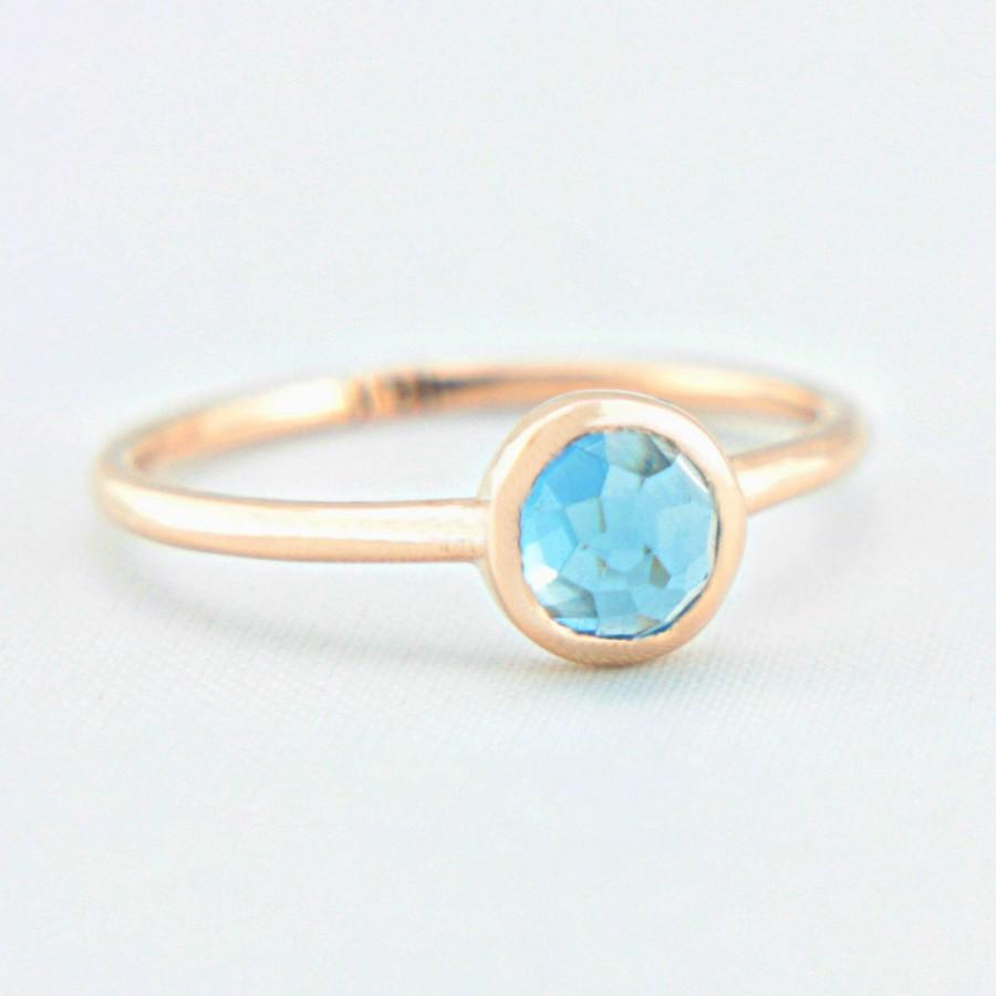 Wedding - Blue Topaz Rose Gold Ring 14k Gold Rose Cut Blue Topaz Gold Ring Made in Your Size Alternative Engagement Ring Blue Topaz Engagement Ring