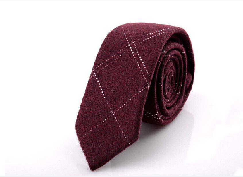 Wedding - Wine Red Wool Ties With White Stripes.Wedding Neckties.Wedding Accessoires.Anniversary Gift