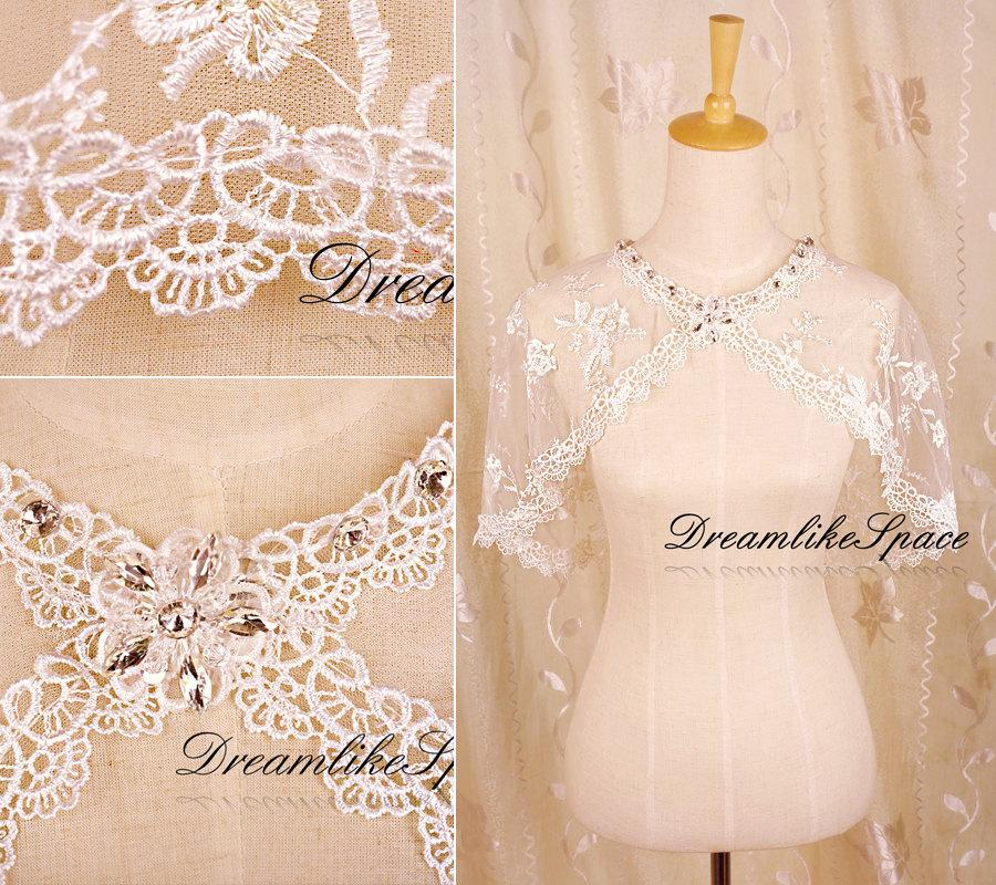 Mariage - Sheer illusion lace bridal bolero,Crystal round neck bolero,Wedding lace bolero jacket,Handmade embroidery bolero,Bridesmaid bolero,Lace top