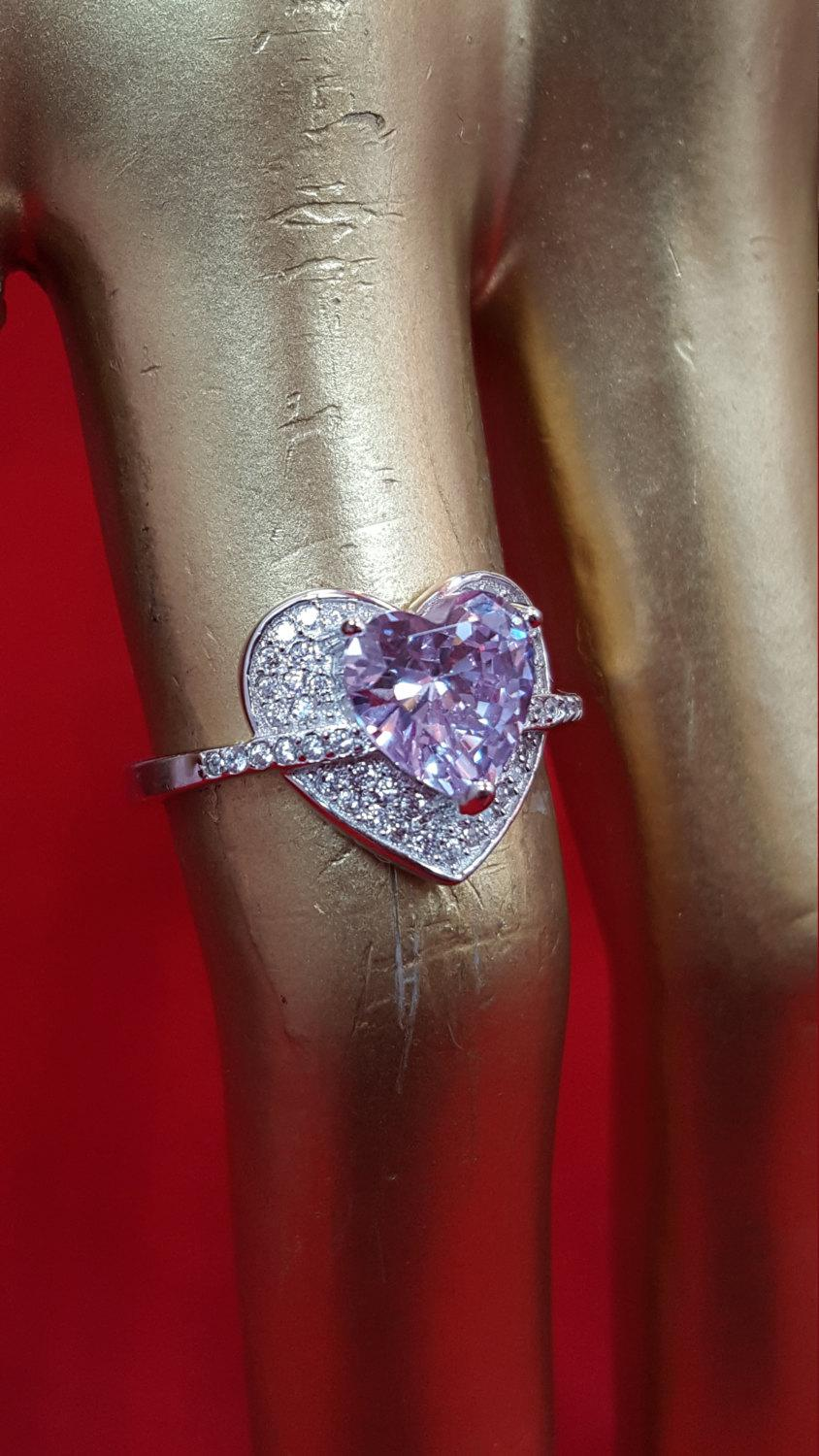 Свадьба - Sterling Silver. Ring.925 Stamped.Amethyst Ring.Heart Shape Ring.Solitarie Ring.Promise Ring.Wedding N Engagement Ring.Diamond Ring.E281