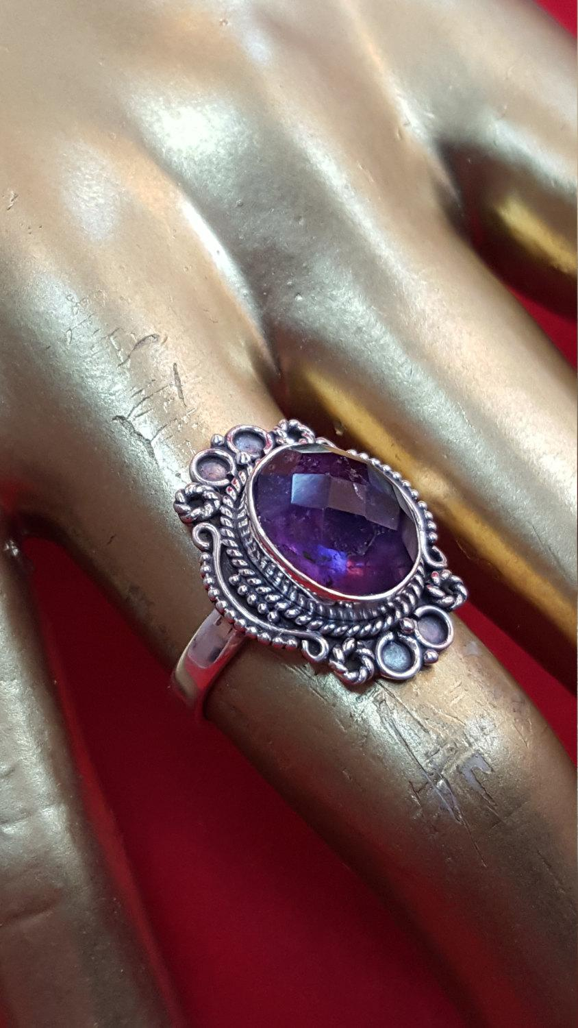 Свадьба - Sterling Silver Ring.925 Stamped.Faceted Amethyst Ring Antique Ring Art Deco Ring.Halo Ring.Wedding Engagement Ring Statement Ring.R301