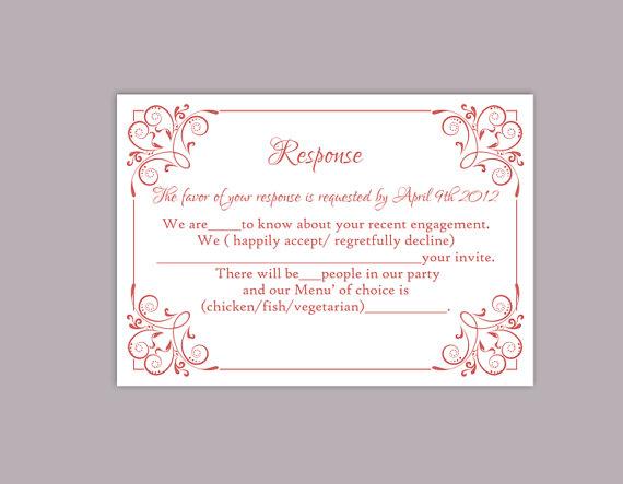 Свадьба - DIY Wedding RSVP Template Editable Text Word File Download Printable RSVP Cards Wine Red Rsvp Card Template Red Rsvp Card