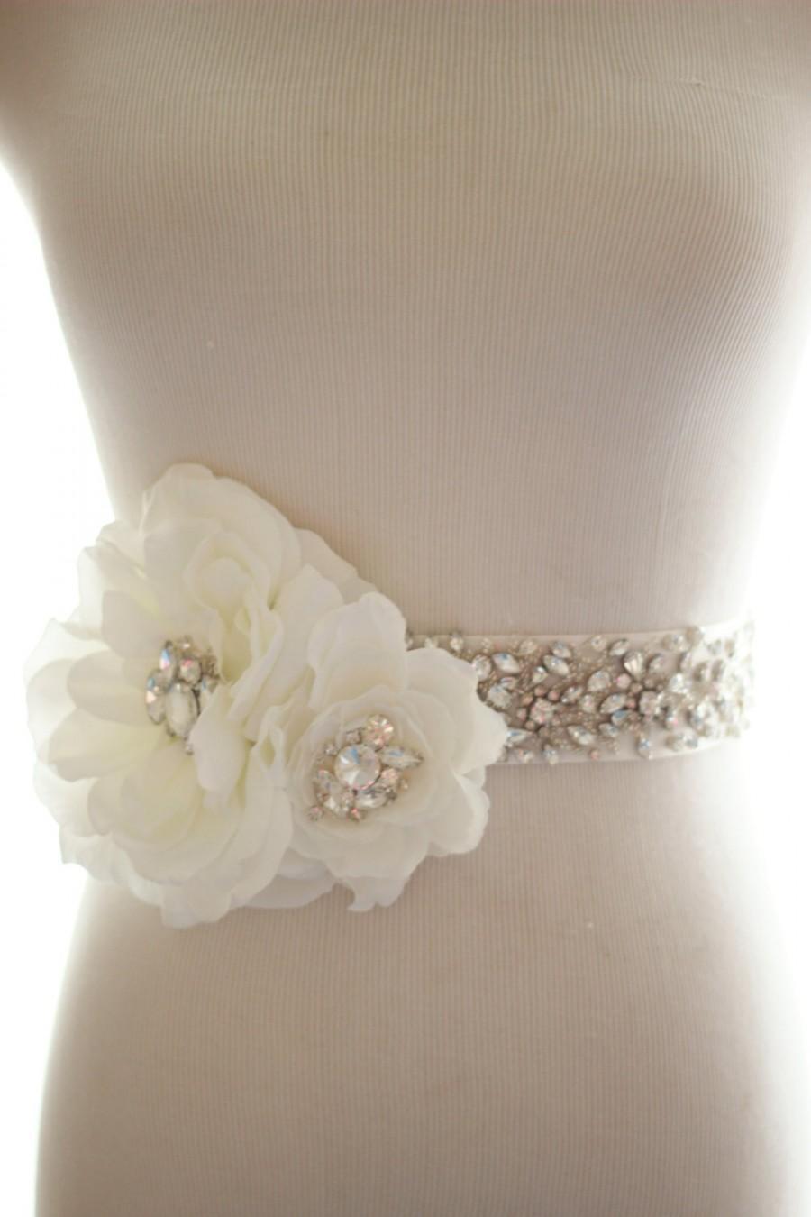 Mariage - Rhinestone Crystal Silk Flower Bridal Belt, Wedding Sash, Crystal Bridal Sash