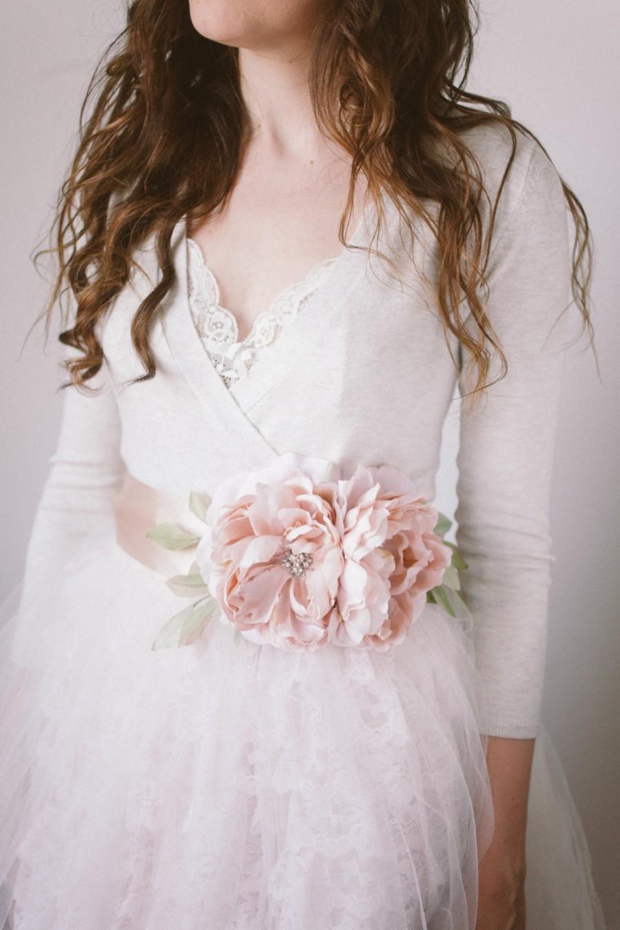 Mariage - Flower Bridal Sash, Blush- Style Delilah