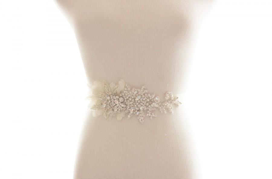 Mariage - Crystal Rhinestone Beaded Belt, Bridal Sash, Chiffon Petals
