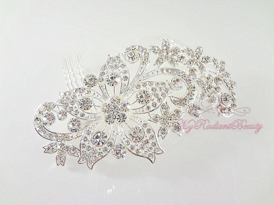 Hochzeit - Bridal Comb, Diamante Rhinestone Flower Hair Comb, Wedding Hair Comb, Rhinestone Hair Comb, Bridal Hair Accessorie -HC0002