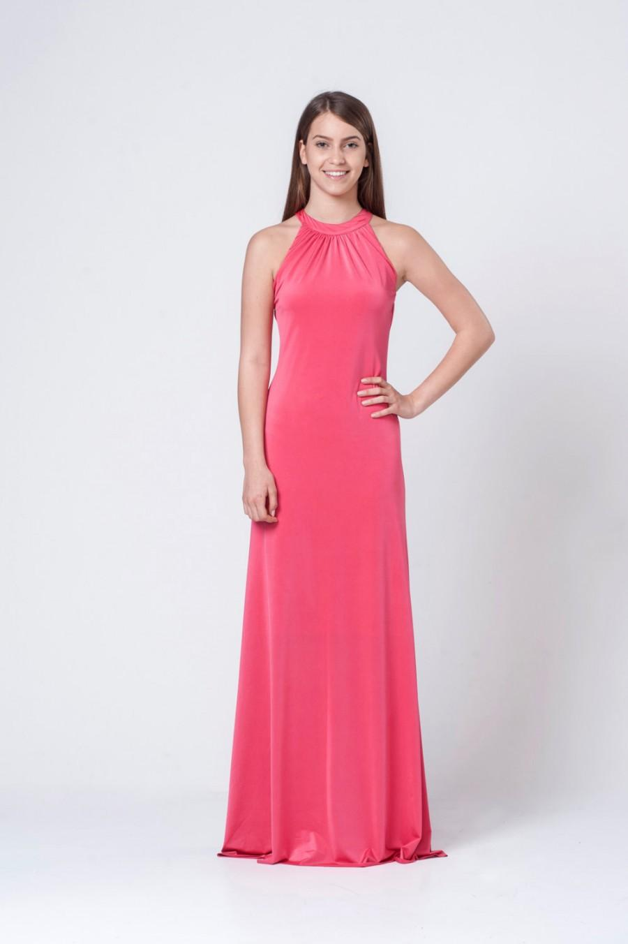 e0f4fc509a Coral pink Halter neck dress - Coral pink back opening bridesmaid maxi dress  - Coral pink off Shoulders maxi dress
