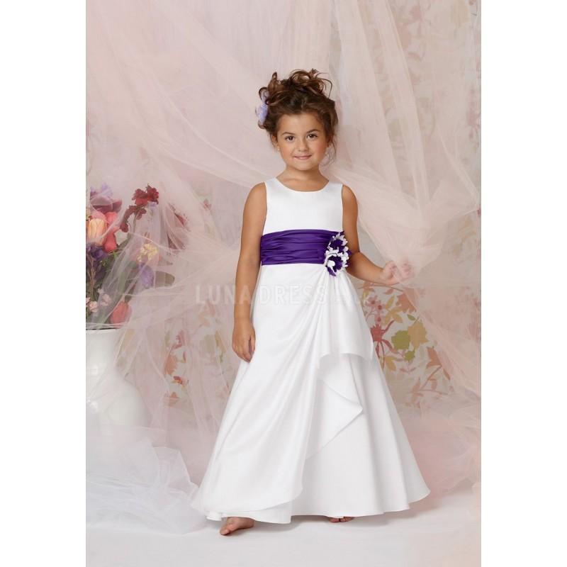زفاف - A line Satin Floor Length Jewel Flower Girl Dress - Compelling Wedding Dresses