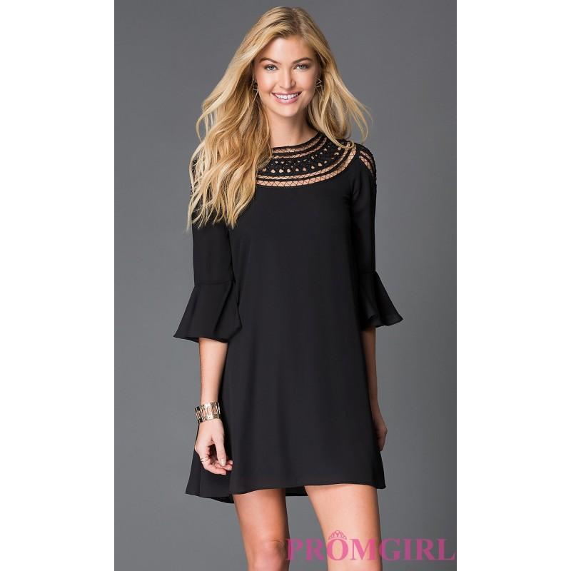 Short Black High Neck Shift Dress By As U Wish - Discount Evening ...