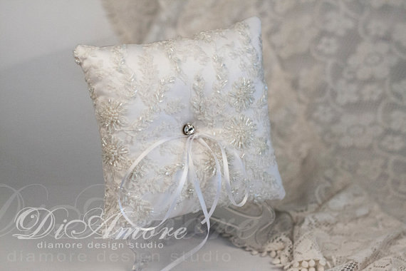 Mariage - Winter Wedding, Christmas, Snowflake, Frosty Wedding,Сrystal Luxury lace white wedding bearer pillow / hand embroidery with beads