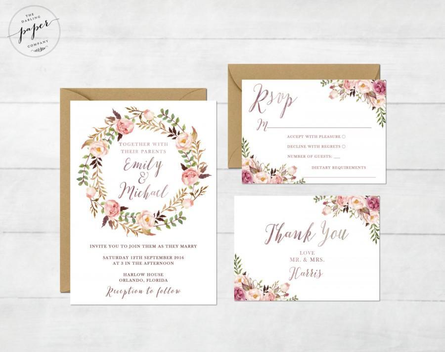 زفاف - Floral Wedding Invitation Printable Wedding Invitation Suite Rustic Wedding Invite Boho Wedding Invite Watercolor Wedding Boho Set