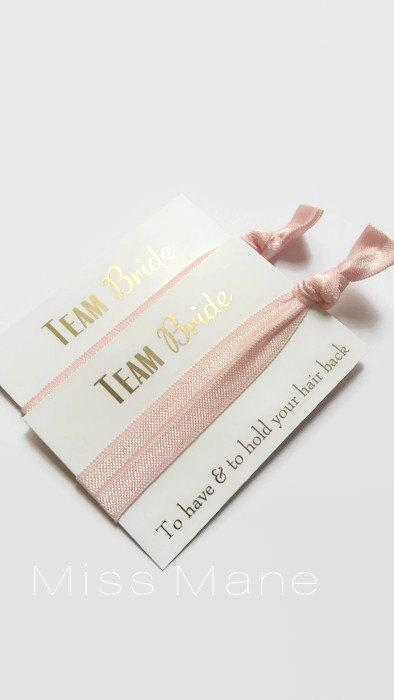 Bachelorette Team Bride Hair Ties Hen Party Favours Gifts Bridesmaids Bridal Shower Night