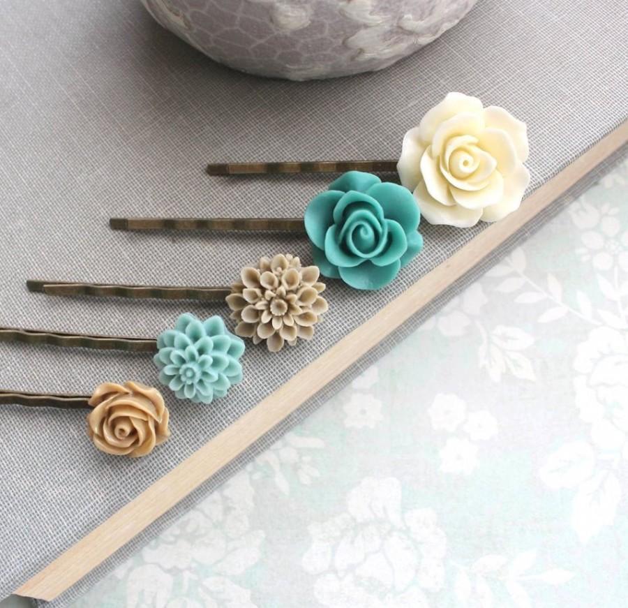 Hochzeit - Flower Bobby Pin Teal Floral Hair Accessories Cream Rose Bobbies Tan Rose Neutral Tones Natural Earthy Colors Set of Five ( 5 ) Aqua Bobbies