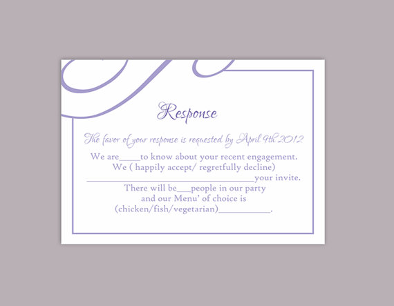 Boda - DIY Wedding RSVP Template Editable Text Word File Download Printable RSVP Cards Lavender Rsvp Card Template Purple Rsvp Card