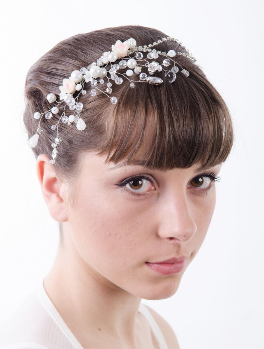 زفاف - Rhinestones Crystal Bridal Comb, Bridal White Silver Floral hair comb, Wedding hair accessories, Bridal Headpieces, crystal comb bridal