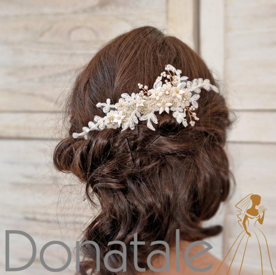 Свадьба - Wedding hair piece ,Bridal headpiece,Bridal  hair comb, Wedding Headpiece,Ivory Gold Lace Bridal hair piece, Bridal hair accessories- AGNES