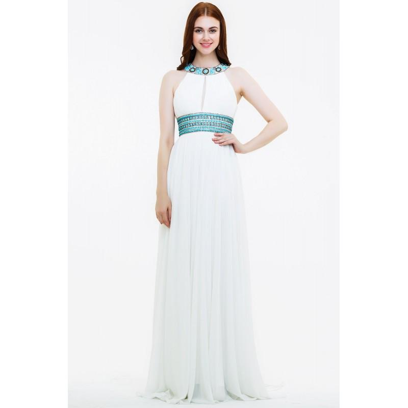 Свадьба - Bodice Long Pure White Halter Prom Dress - dressosity.com