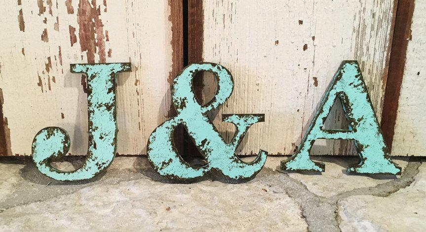 Rustic Letter 9 5 Tall Name Personalize Ampersand Cottage Country